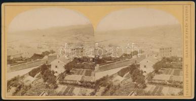 1890 Trieszt, látkép, sztereófotó, jó állapotban, 8,5×17,5 cm / Trieste, Italy, stereo photo
