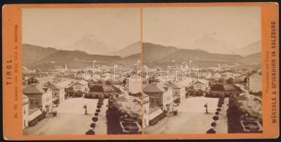 1890 Kilátás Innsbruckra a Hotel Tirol ablakából, sztereófotó, jó állapotban, 8,5×17,5 cm / Innsbruck, Austria, Hotel Tirol, stereo photo