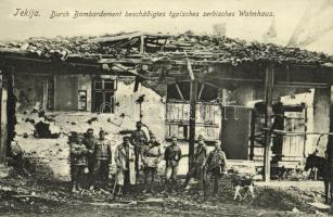 Tekija (Kladovo), Durch Bombardement beschädigtes typisches serbisches Wohnhaus / Typical Serbian house damaged during bombardment, WWI