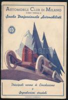 cca 1928 A milánói autóklub közlekedési szabályokat bemutató kihajtható kiadványa dekoratív címlappal, jó állapotban / Automobile Club di Milano brochure