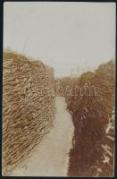 1914 Rőzsefallal védett lövészárok az I. világháborúban, fotólap, 14×9 cm / WWI, trench, photocard