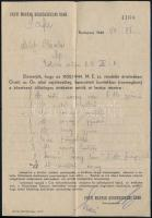 1944 A Pesti Magyar Kereskedelmi Bank elismervénye az 1600/1944 M.E. sz. rendelet a zsidók vagyonának bejelentése és zár alá vétele nyomán leadott értékek banki letétjéről Milch Blanka részére