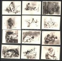 cca 1905 Zichy Mihály erotikus rajzairól készített 21 db fotó, jó állapotban, 6×8,5 cm