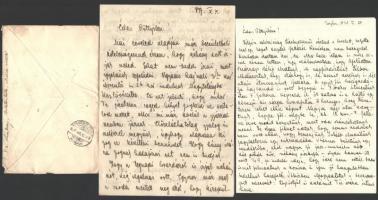 1937-1938 Major József karpaszományos tizedes I. Mérőszázad négy levele a felvidéki bevonulás előtti katonaéletről Tarjánból, Hajmáskérről, Romhányból, összesen 15 kézzel írt oldal
