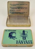cca 1960 2 db Bányász szivarka doboz fémből belül is feliratozva 12 cm