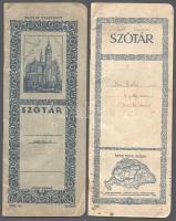 cca 1930 2 db irredenta feliratú szótár füzet