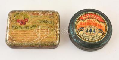 cca 1930 Kaiser, Múzsa cseresznye cukorkás fém doboz 7, 8 cm
