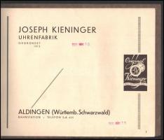 1931 Aldingen, Németország, Joseph Kieninger Uhrenfabrik (óragyár) német nyelvű falióra katalógusa, jó állapotban, 15p