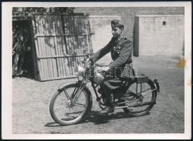 cca 1942 Magyar katona motorkerékpáron, fotó, kis folttal, 7,5×10,5 cm / Hungarian soldier with motorcycle, photo