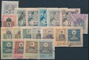 1898-1903 19 db különböző okmánybélyeg