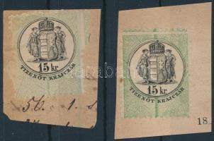 1870 15Kr hártyapapír okmánybélyeg elégtelen perforálással, a másik bélyeg szabályos perforálású