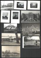 Vegyes, különböző városok épületeit ábrázoló fotók, Pécs, Orosháza, Kolozsvár, stb., 11 db, 6,5×9 és 9×14 cm közötti méretekben