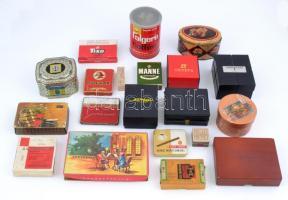 19 db régi, retro és újabb fém- és papír doboz, gyógyszeres, szivarkás, bonbonos, óratartó, stb