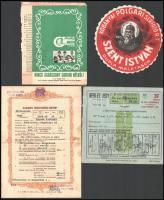 cca 1850-1940 10 db vegyes papírrégiség: irat, reklám, sörcímke