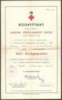 cca 1940 3 db Vöröskereszt behívójegy, bizonyítvány, boríték