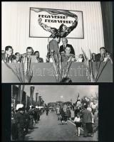 cca 1960 Munkásmozgalom 4 db fotó, két okmány. Honi légvédelem mappa