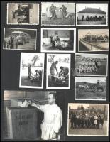 cca 1960 28 db érdekes fotó: szavazás, falunap, varrónők, Balaton, Győr, Nagylak, disznóvágás, szőlőmunkások...