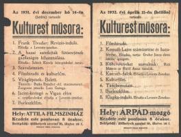 1931-1932 Budafok, Árpád Mozgó, 2 db műsoros szórólap, sérült