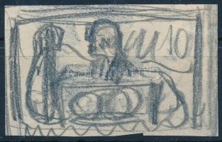 ~1947 Konecsni György bélyegterv vázlata / Stamp essay of Gy. Konecsni