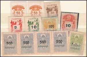 22 db magyar és külföldi okmánybélyeg