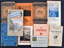 cca 1910-1940 Külföldi turista kiadványok: útikalauzok és térképek, tételben