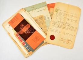 cca 1840-1940 41 db régi okmány, nyomtatvány, reklám