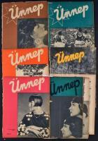 1935 Az Ünnep című újság, képes irodalmi hetilap 9 db száma, főszerkesztő Megyery Ella, borítólapok lejárnak