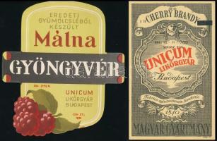16 db Unicum és szörp címke