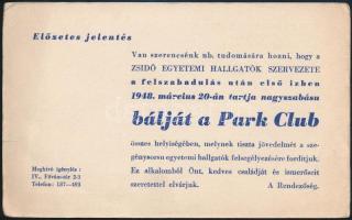 1948 Zsidó Egyetemi Hallgatók szervezete által rendezett bál levelezőlapja