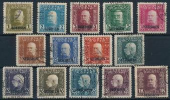 K.u.k. Feldpost Szerbia részére 1916 Forgalmi sor 14 értéke vízszintes felülnyomással (83.700)