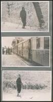 cca 1930 Buda, a fogaskerekű vasút Széchenyi-hegyi végállomásán, 6 db vintage fotó, két kartonlapra felragasztva, 8x13 cm