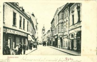 1905 Győr, Kazinczy utca, Fiume Kávéház, Máyr Gyula üzlete. Berecz Viktor üzlete (EK)