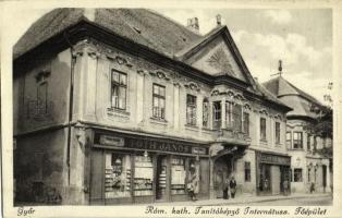 1938 Győr, Római katolikus Tanítóképző Internátusa, főépület, Tóth János üzlete