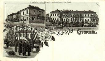 1899 Győr, M. kir. állami tanítónőképző intézet, urak. Art Nouveau, floral, litho (szakadás / tear)