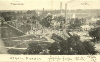 1911 Győr, Waggongyár (vagon gyár), iparvasút. Nitsmann J. kiadása