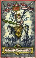 1916 Glück und Frieden im neuen Jahr! / New Year greeting card, angel of peace, chariot + Internement des Prisonniers Leysin Suisse cancellation (EK)