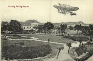 Győr, Székely Mihály okl. tábori pilóta a repülőgépével. Herman Izidor kiadása