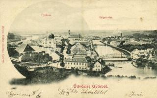 1900 Győr, Újváros, zsinagóga, Sziget-rész. Berecz Viktor kiadása