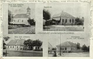 1926 Győrszentiván, Jegyző lak, Római katolikus templom, plébánia, fiú iskola és apáca zárda, községháza. Jánossy János fényképész kiadása (Rb)