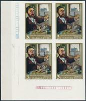 1967 Festmények III. sor ívsarki vágott fázisnyomat négyestömbök gumi nélküli papíron (nem leáztatott) / phase print corner blocks of 4 on gumless paper