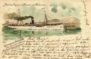 Pannónia kivándorlási hajó a kikötőben / Auf der Reise von Fiume nach Dalmatien. Ungarisch Kroatische See-Dampfschiffahrts-Actien-Gesellschaft / Emigration ship Cunard Line SS Pannonia in the port. litho (EK)