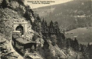 1910 Chemin de fer Yverdon-Ste-Croix, Tunnel de lOnglettaz / railway, train, tunnel