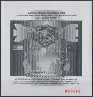 1987 Csúcstalálkozó blokk feketenyomat piros sorszámmal (32.000)