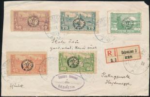 Megszállási kiadások Debrecen II. 1920 Ajánlott levél előlap 45f, 50f, 60f, 75f, 80f bélyeggel DEBRECZEN - Pallagpuszta