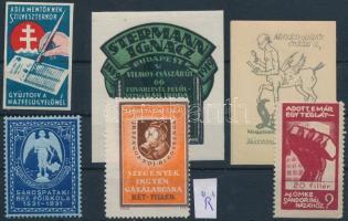 1916-1931 6 db klf. rági magyar (közte R!) levélzátó és segélybélyeg
