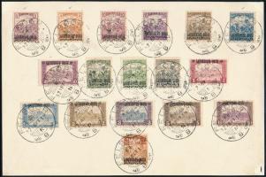 Nyugat-Magyarország III. 1921 Alap sor + 5 db próbanyomat (3f, 5f, 25f, 50f, 2,50K) papírlapon, FELSŐŐR bélyegzéssel, RR! Bodor vizsgálójellel