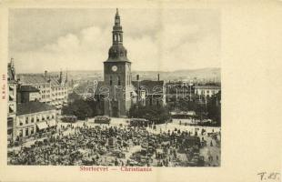 Oslo, Christiania, Stortorvet / market square, trams, cathedral