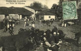 1913 Shkoder, Shkodra, Skutari; Au Bazar / at the bazaar, oxen, folklore