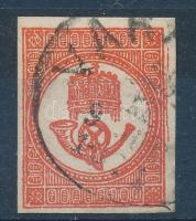 1871 Kőnyomású Hírlapbélyeg sötétvörös (16.500) VARA...