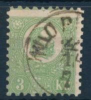 1871 Kőnyomat 3kr képbe fogazva, látványos kerettörés a jobb oldalon KLOP(ODIA) (140.000)